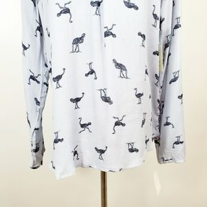 hinge Tops - Hinge S Blouse Top Gray Ostrich Emu Bird NWT